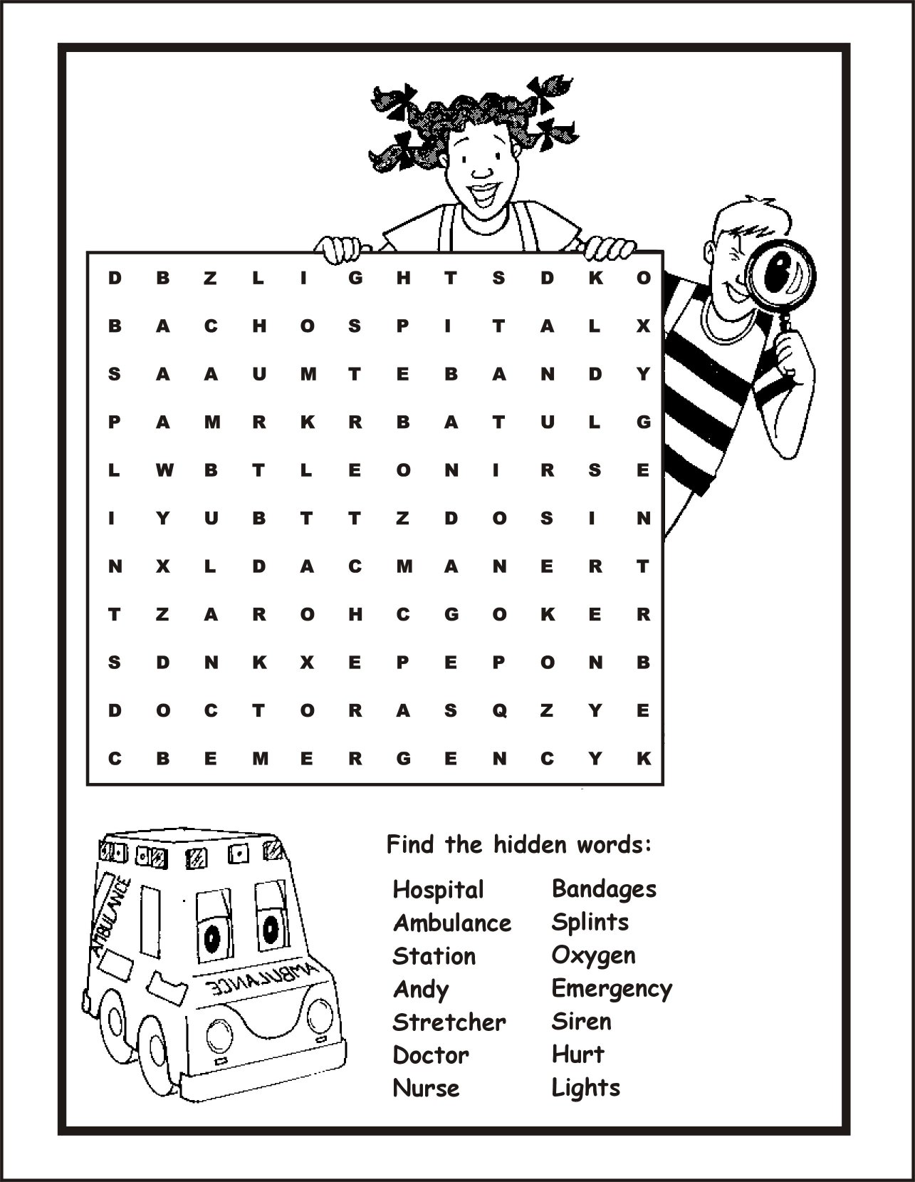Emergency Medical Services Word Search